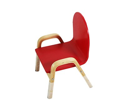 Red children chair with handrails